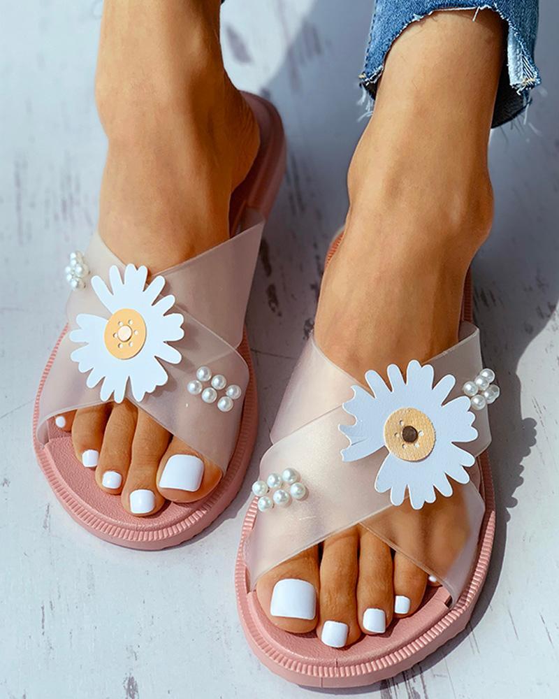 Daisy Pattern Beaded Transparent Flat Sandals фото