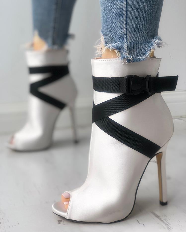 joyshoetique / Suede Crisscross Bandage Peep-toe Thin Heels