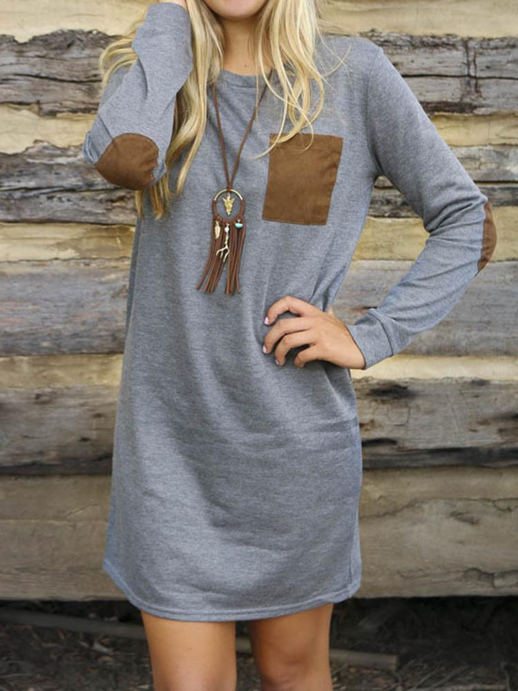 Cotton Long Sleeve Crew Neck Patchwork Loose Casual Shirt Dress