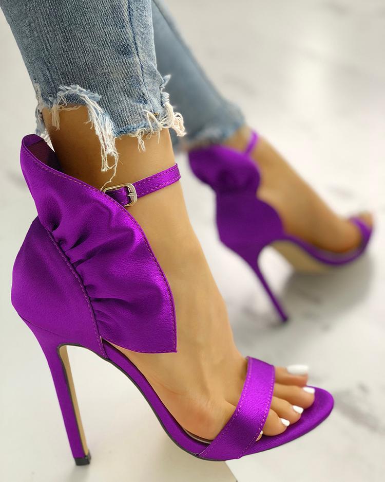joyshoetique / Velvet Ruffles Embellished Thin Heeled Sandals