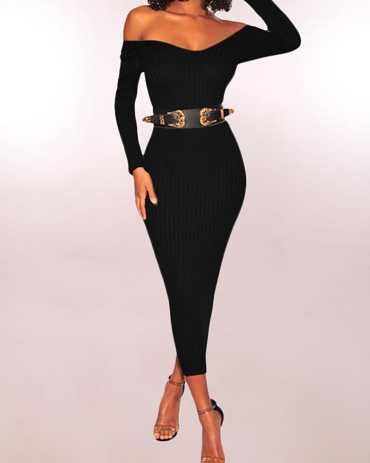 Off Shoulder Long Sleeve Pencil Dress фото