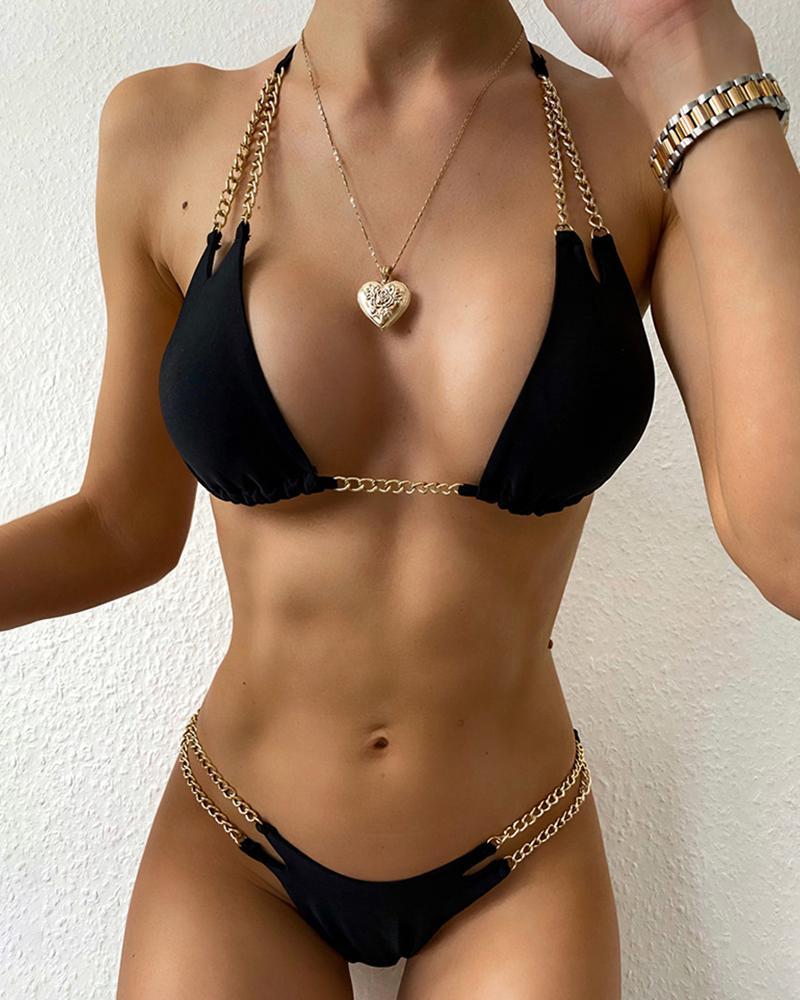 Chain Strap Halter Padded Bikini Set фото