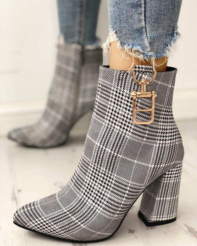 chicme / Houndstooth Print Metallic Decorated Chunky Boots