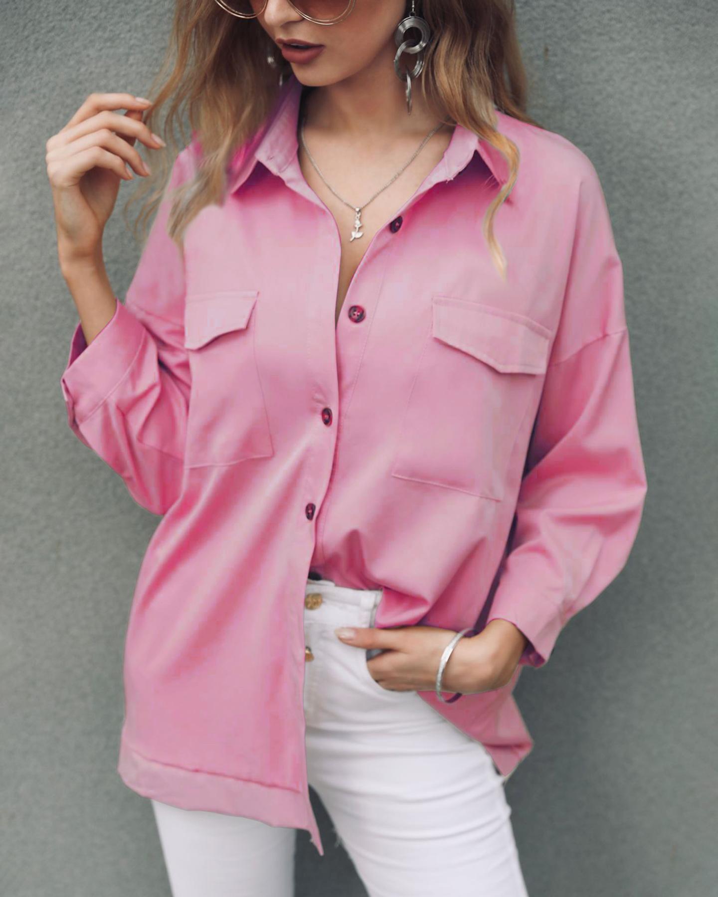 boutiquefeel / Camisa casual de manga larga con bolsillo sólido