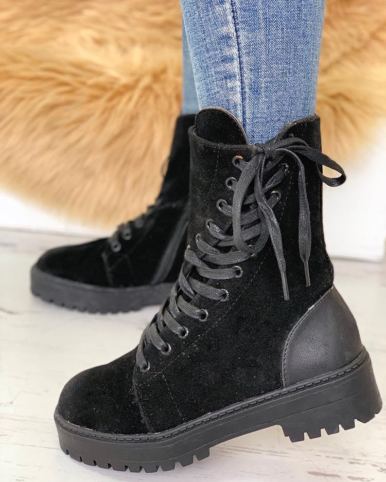 Non-Slip Lace-Up Eyelet Suede Boots