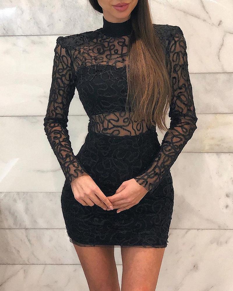 High Neck Lace Detail Mini Dress, Black