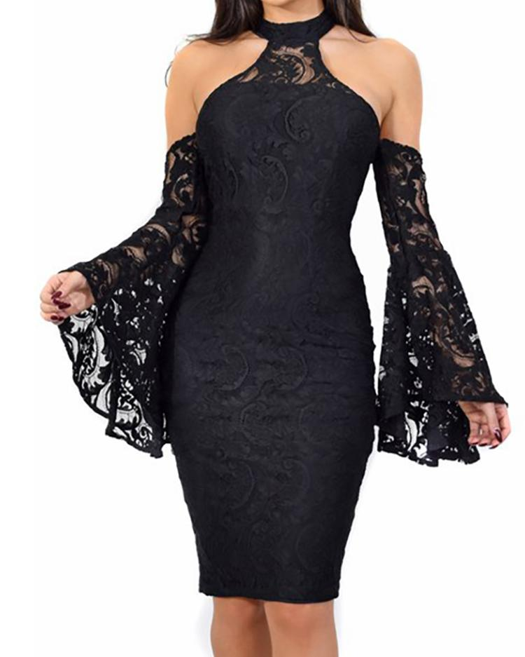 Cold Shoulder Bell Sleeve Lace Bodycon Dress фото