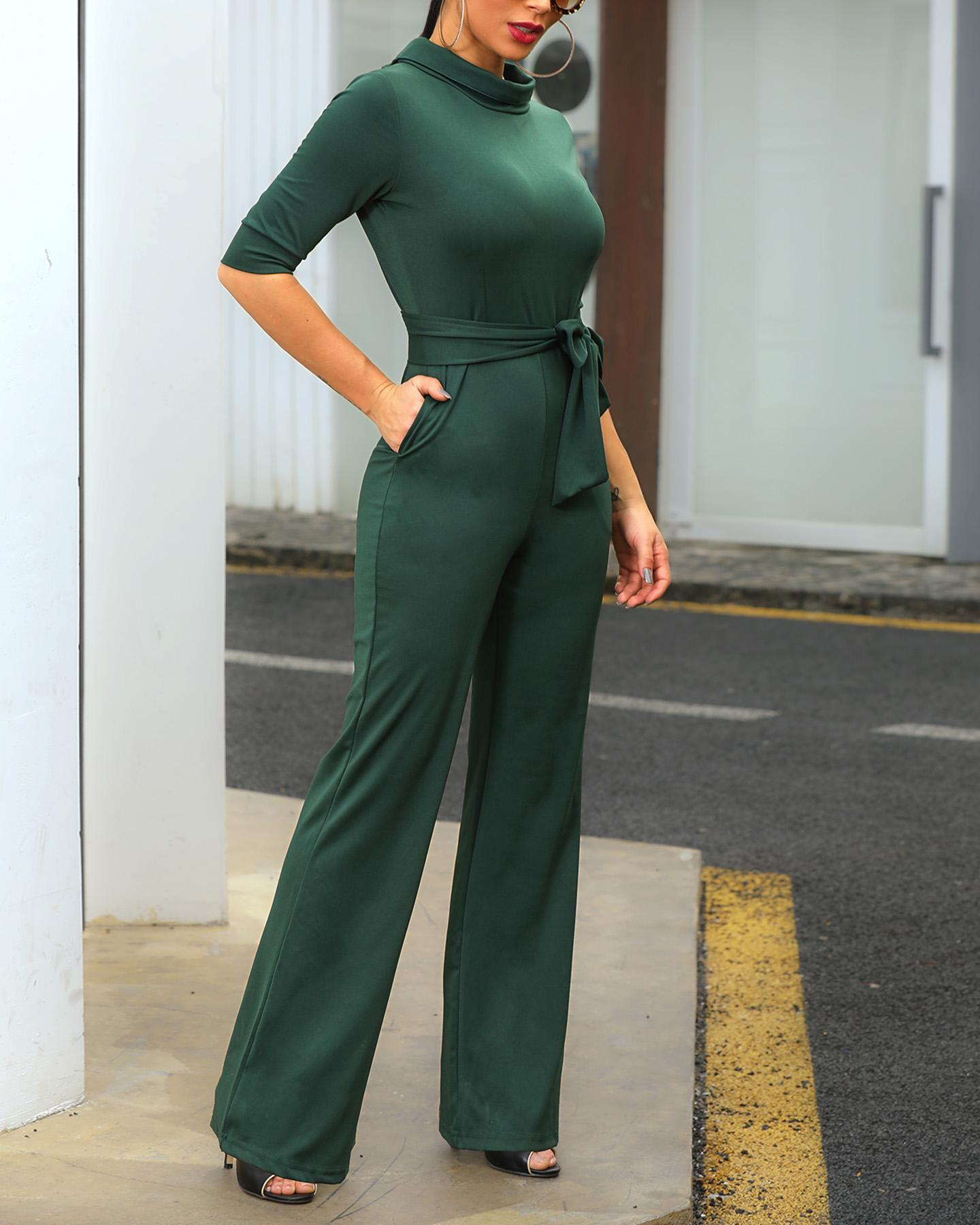 chicme / Solid Mock Neck Pocket Design Jumpsuits