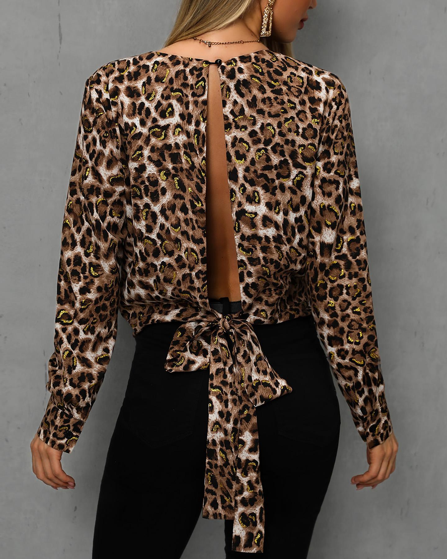 Leopard Print Slit Knot Back Casual Blouse