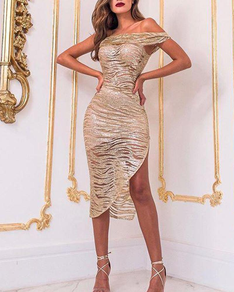 One Shoulder Asymmetric Sequined Dress фото