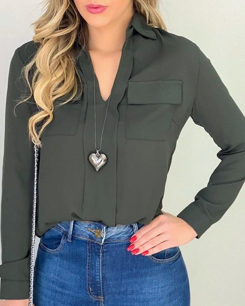 Solid Dual Pocket Casual Blouse, Dark green