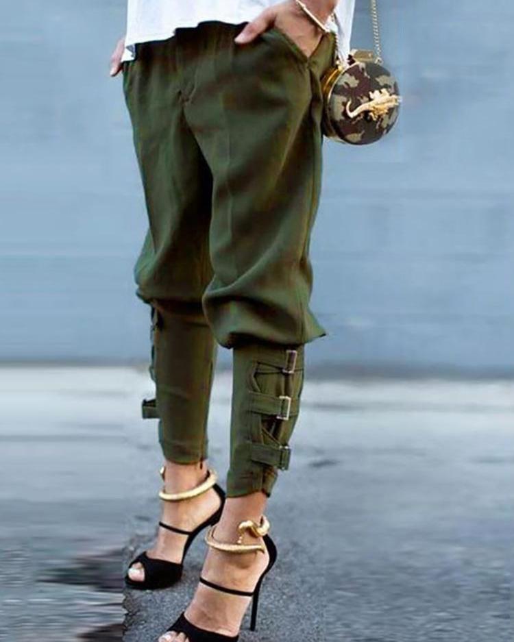 Solid Slant Pocket Buckle Cuffed Pants фото