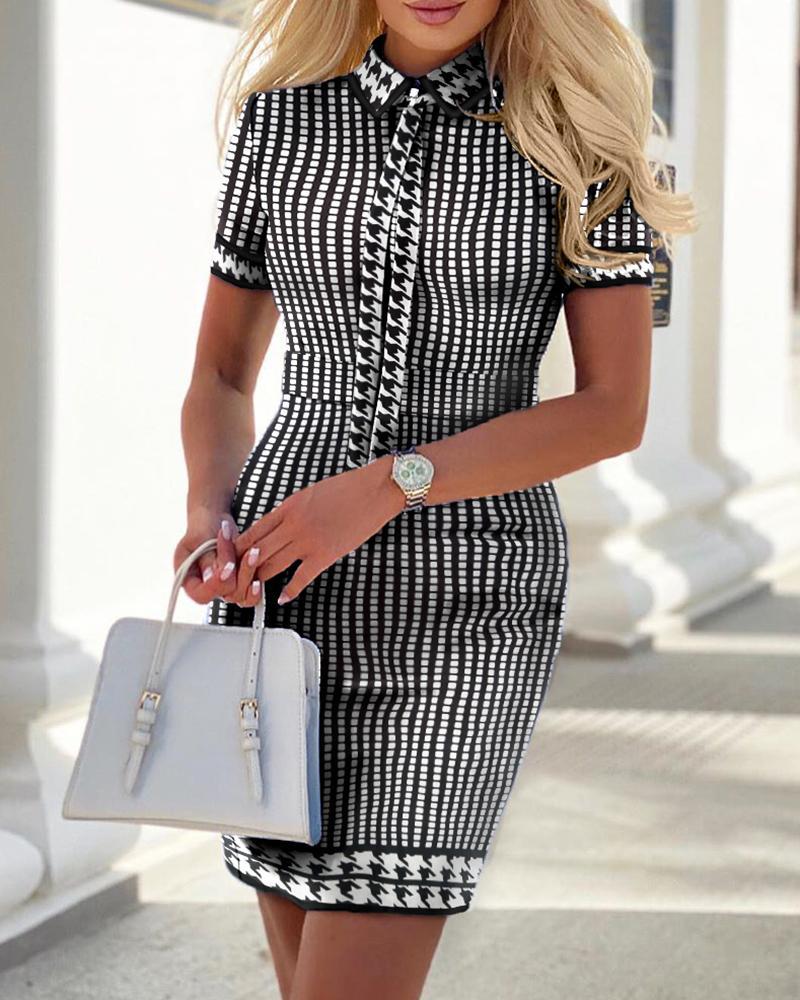 Houndstooth Print Short Sleeve Tweed Dress фото