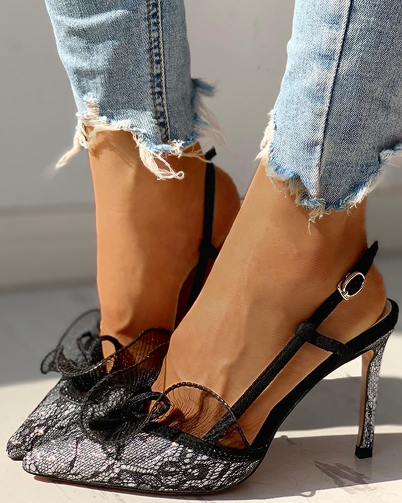 Pointed Toe Lace Insert Ankle Buckled Thin Heeled Sandals, Silver