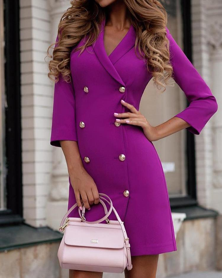 ivrose / Solid Double-Breasted OL Blazer Dress