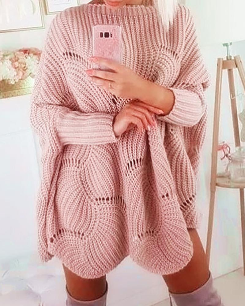 Solid Hollow Out Batwing Sleeve Knit Sweater Dress фото