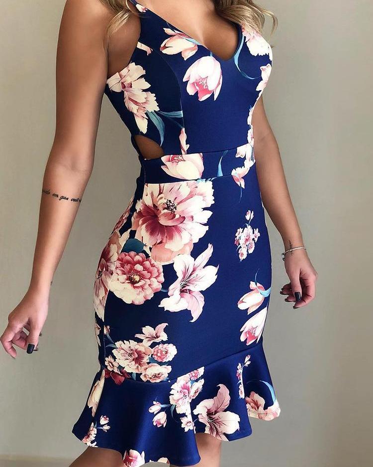 ivrose / Floral Print Ruffles Cutout Waist Dress