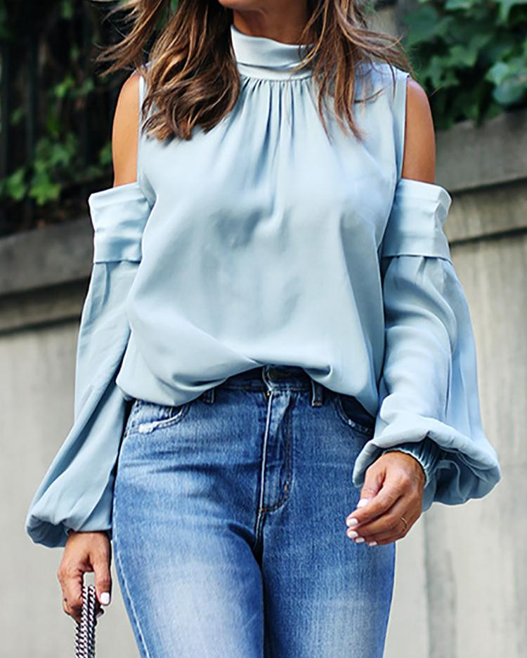 Solid Cold Shoulder Casual Blouse фото