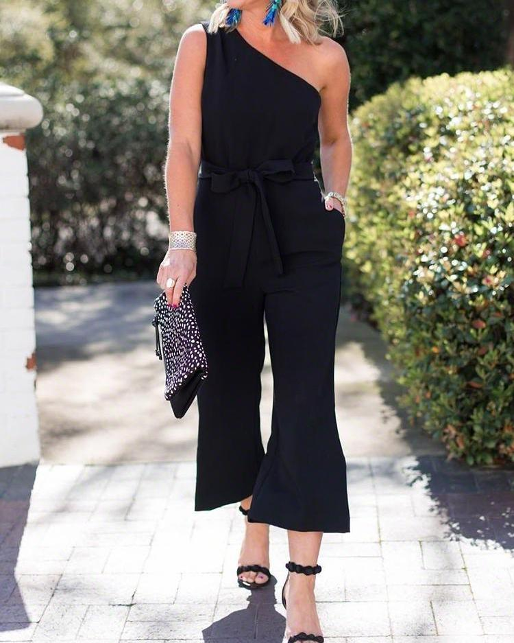 Solid One Shoulder Tied Waist Wide Leg Jumpsuit