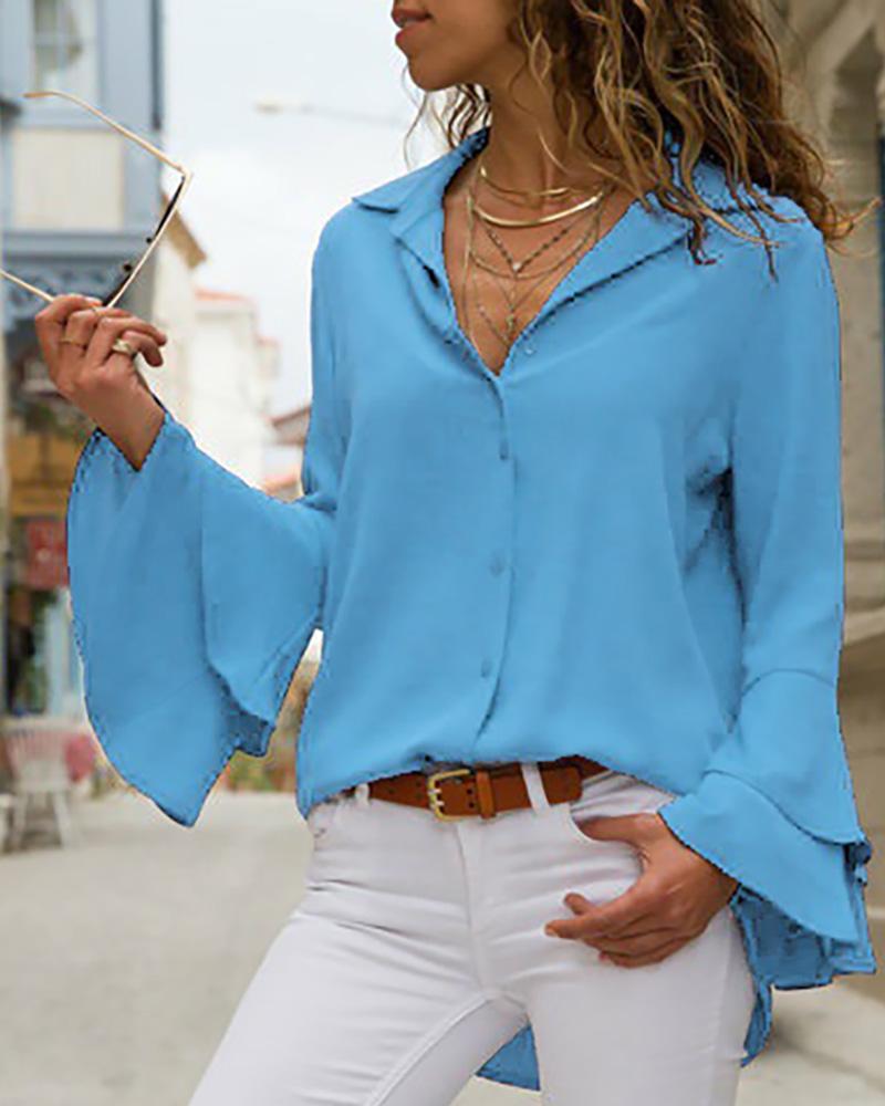 Turn-down Collar Long Sleeve Blouse