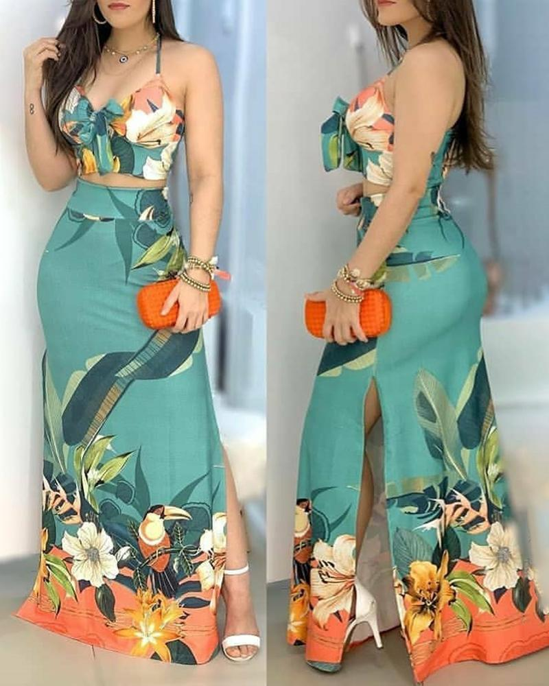 boutiquefeel / Tropical Print Tie Front Top & Slit Maxi Skirt Set