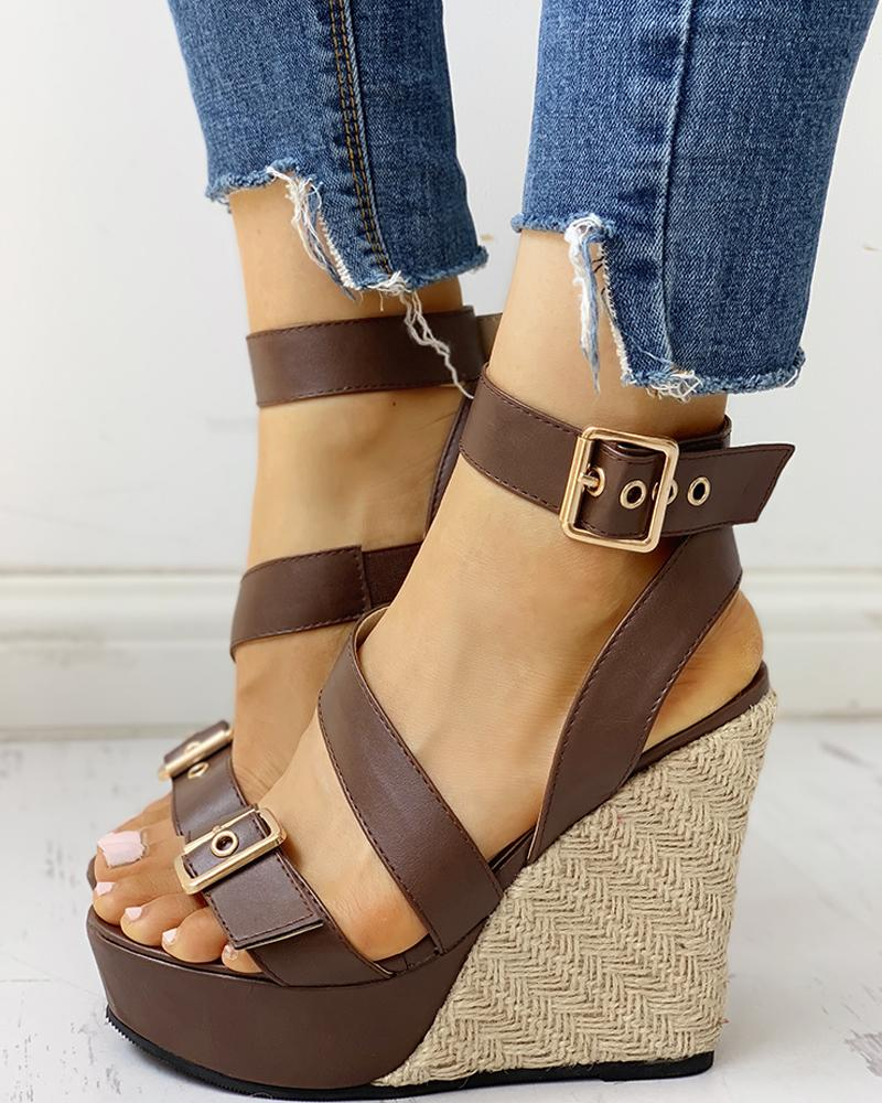Buckled Detail Espadrille Wedge Sandals