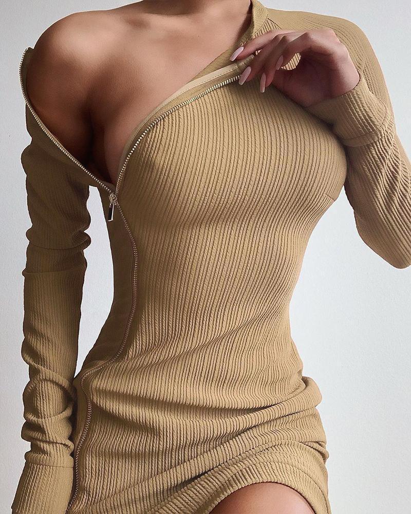 Solid Side Zip Rib Dress фото