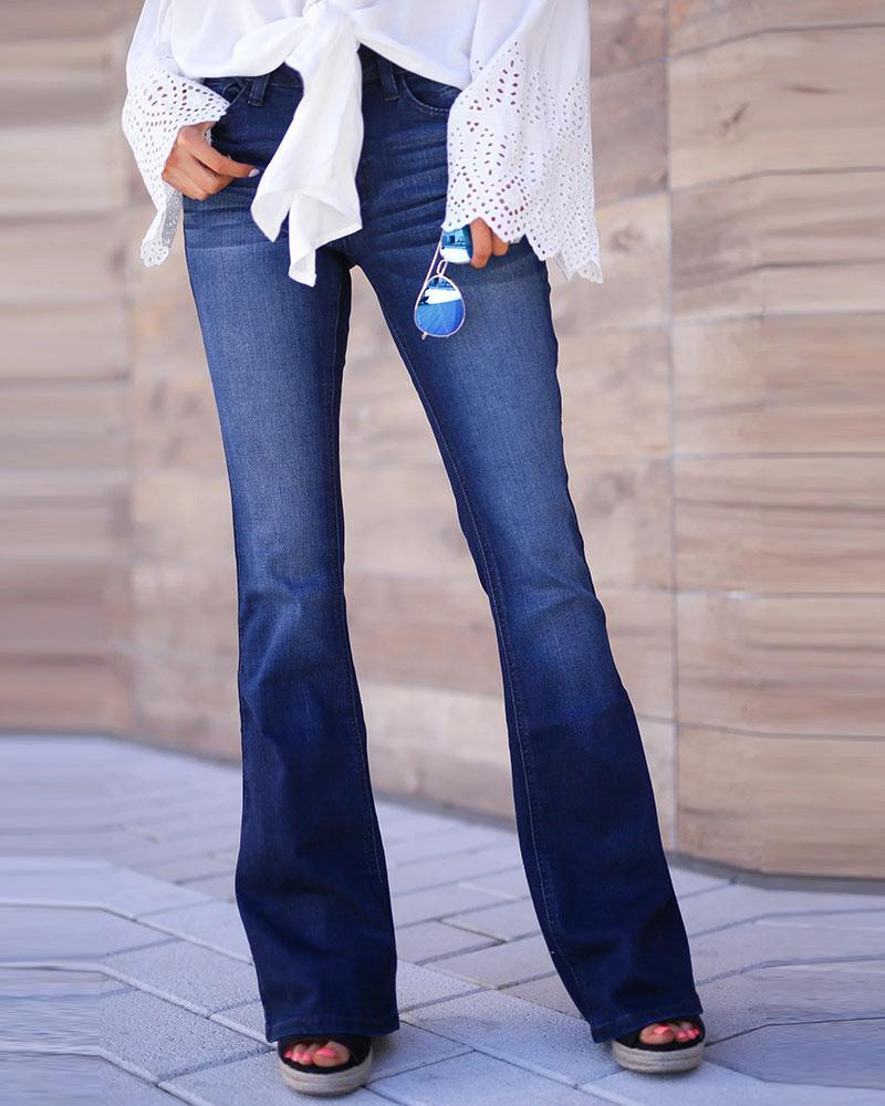 chicme / Jeans de cintura alta sólida casual sino inferior