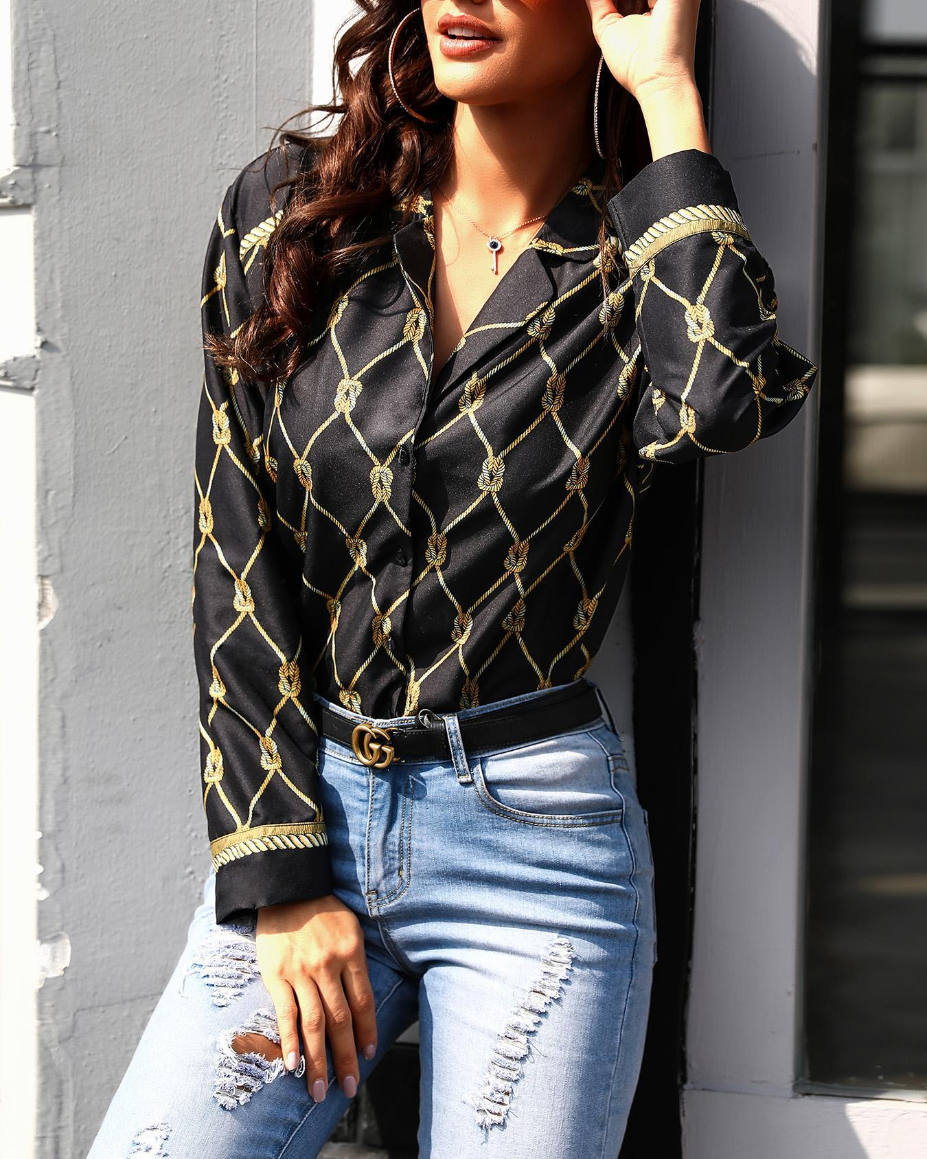 Chain Print Button Up Casual Blouse фото