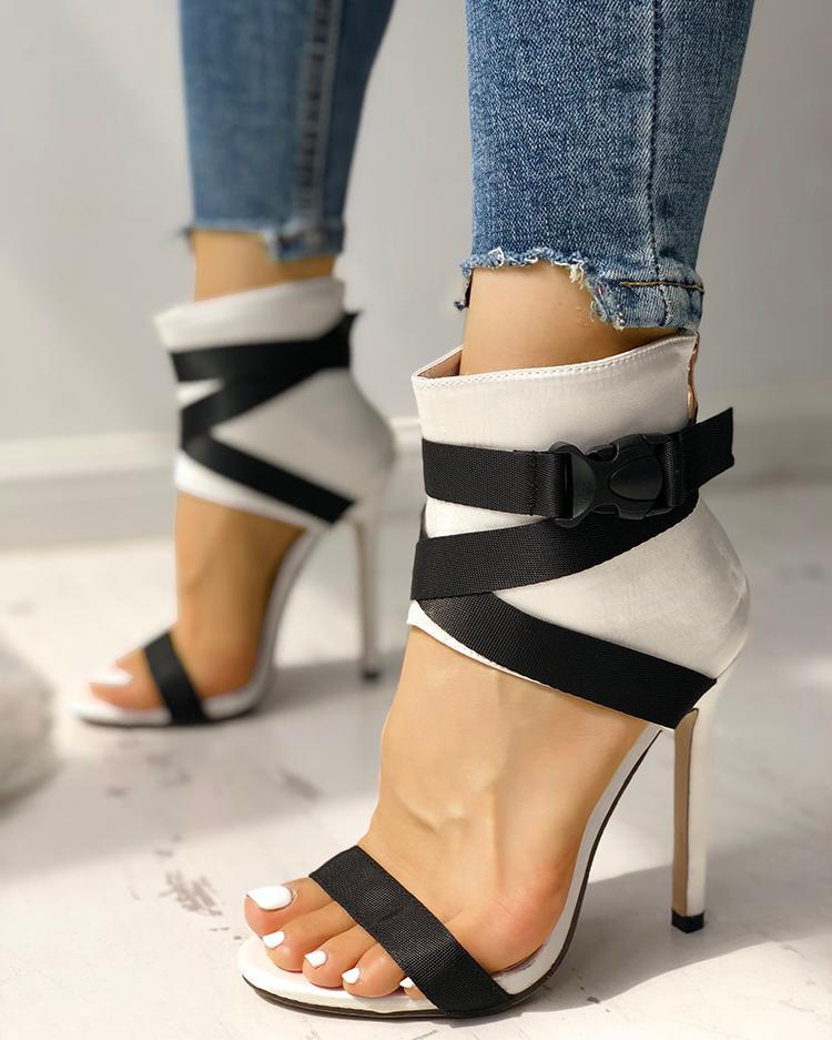 chicme / Empalme vendaje peep-toe sandalias de tacón alto