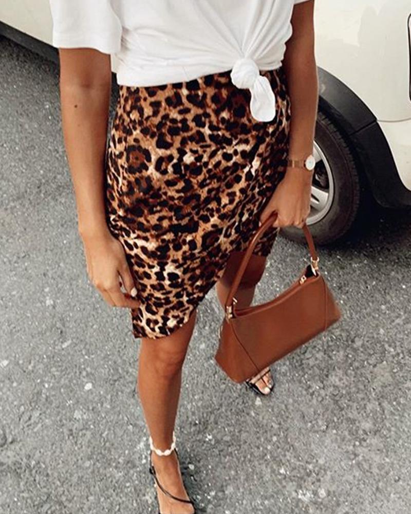 chicme / Mini falda con estampado de leopardo