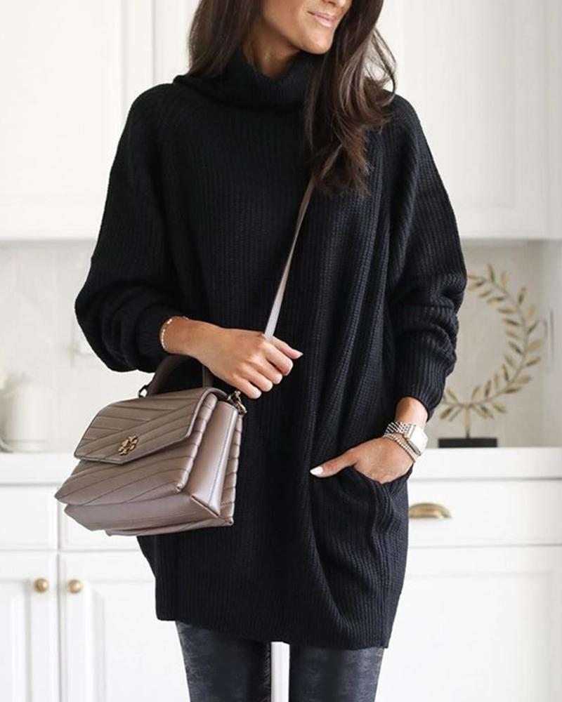 Ribbed Solid High Neck Sweater фото