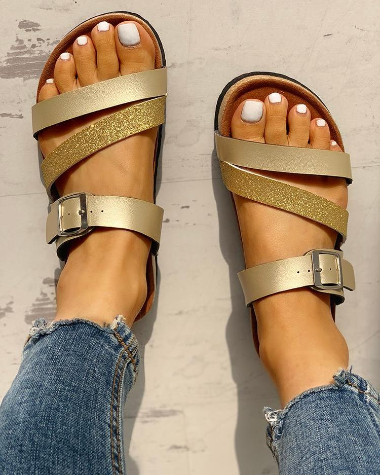Glitter Multi-strap Open Toe Flat Sandals