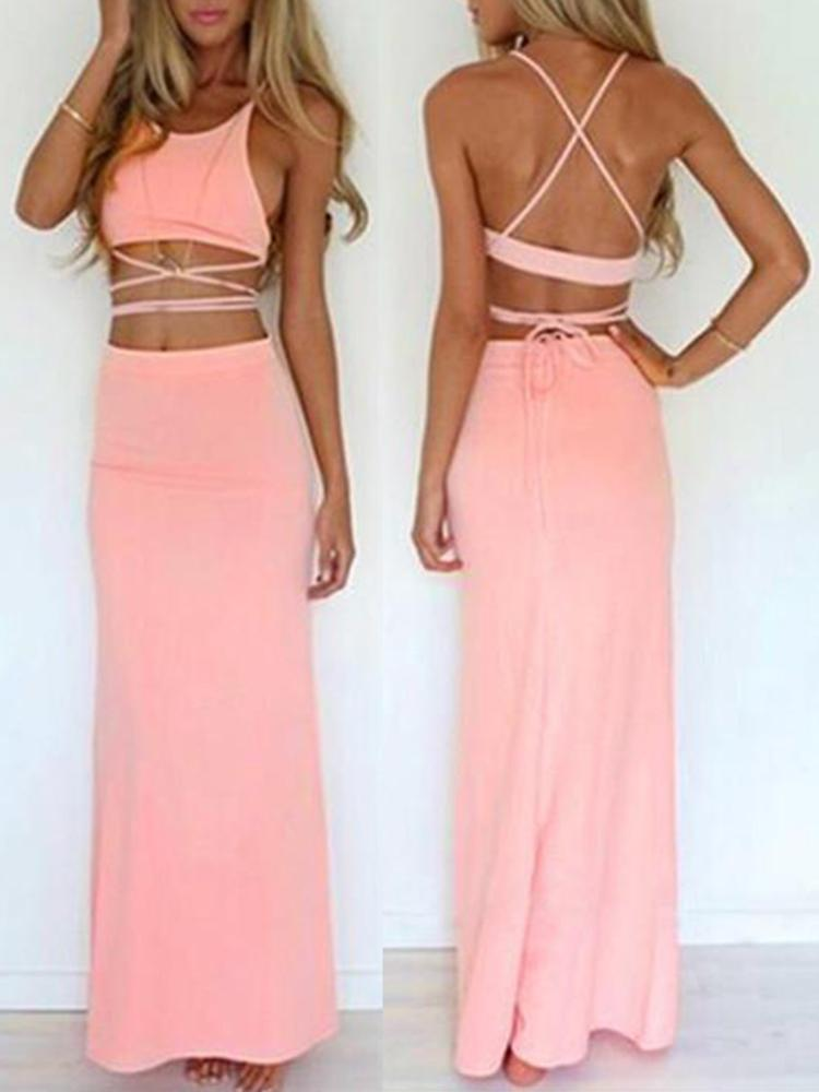 Women 2pcs Summer Sleeveless Crop Top + Long Midi Bodycon Dress