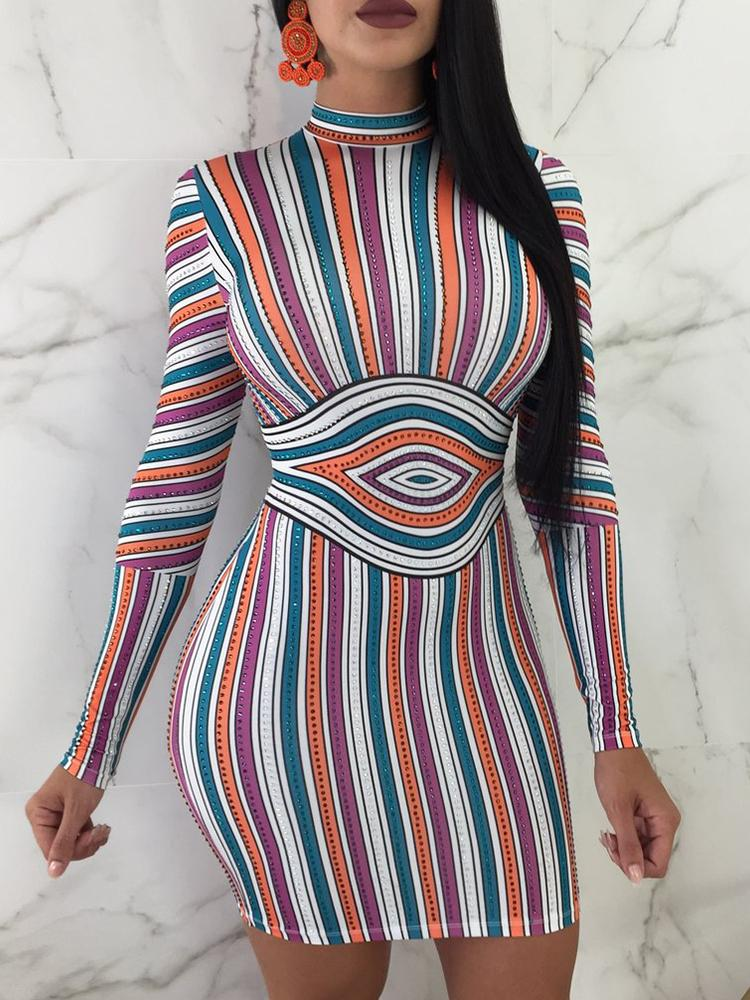 Slinky Colorful Striped Bodycon Dress