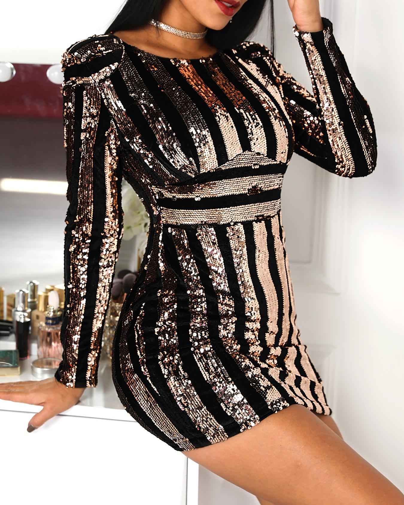 Long Sleeve Striped Sequin Party Dress фото