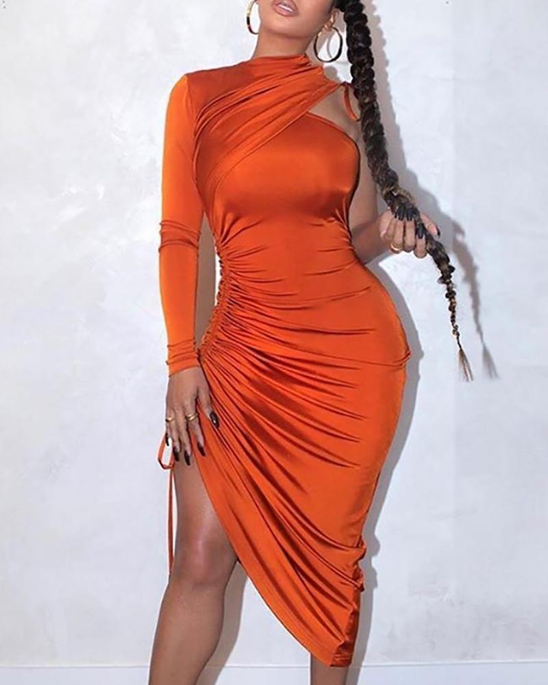 chicme / One Shoulder Drawstring Ruched Dress