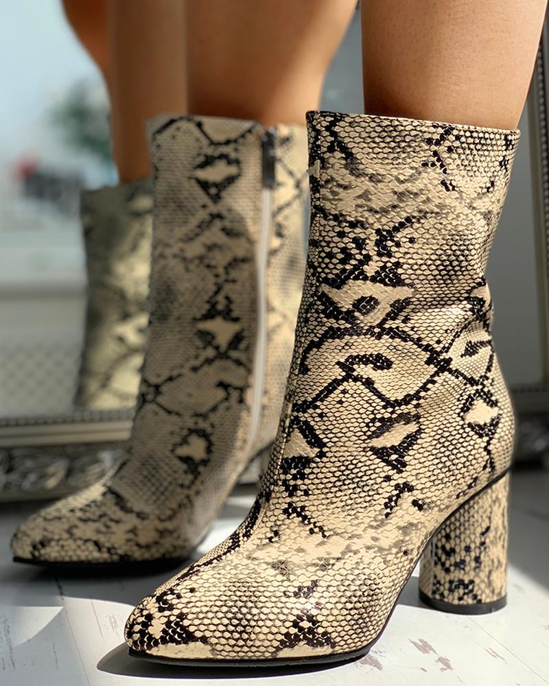 joyshoetique / PU Snakeskin Chunky Heeled Boots