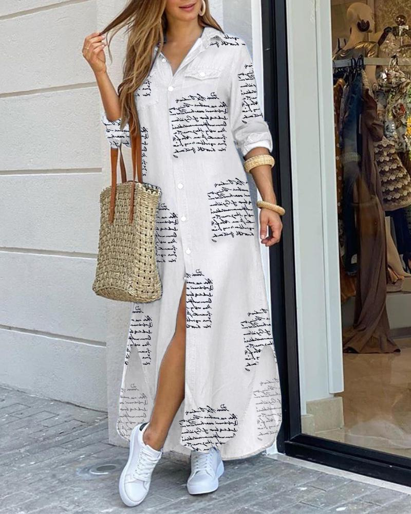 Letter Print Buttoned Slit Shirt Dress фото