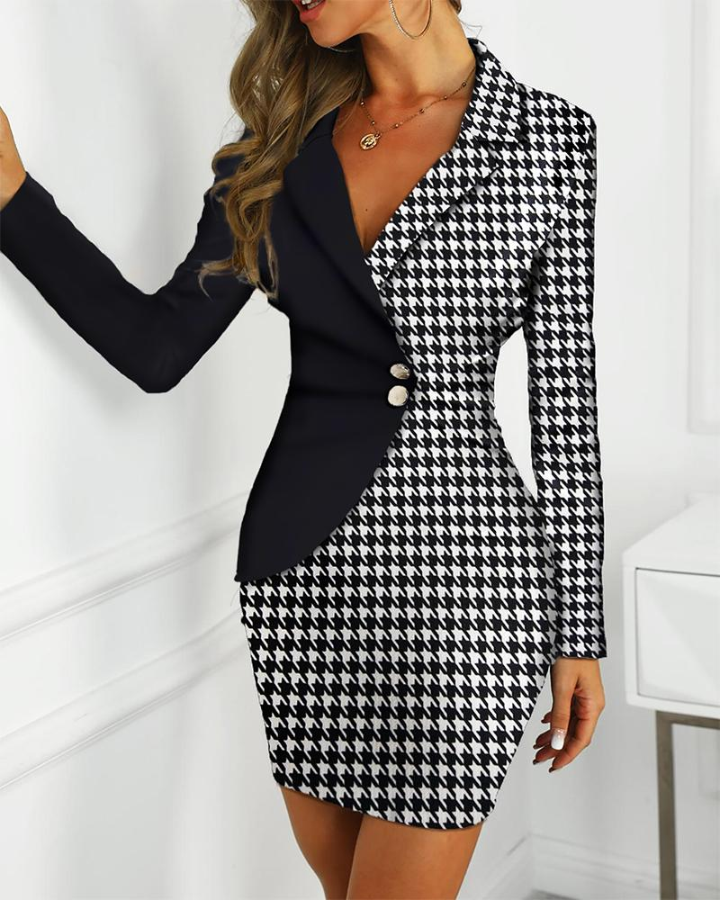 Colorblock Houndstooth Insert Blazer Dress