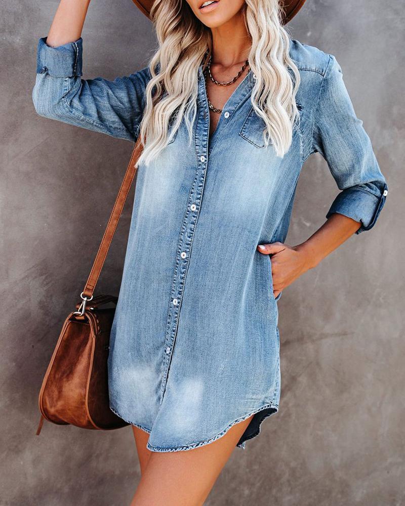 ivrose / Vestido de mezclilla suelto de manga larga con efecto de lavado sólido
