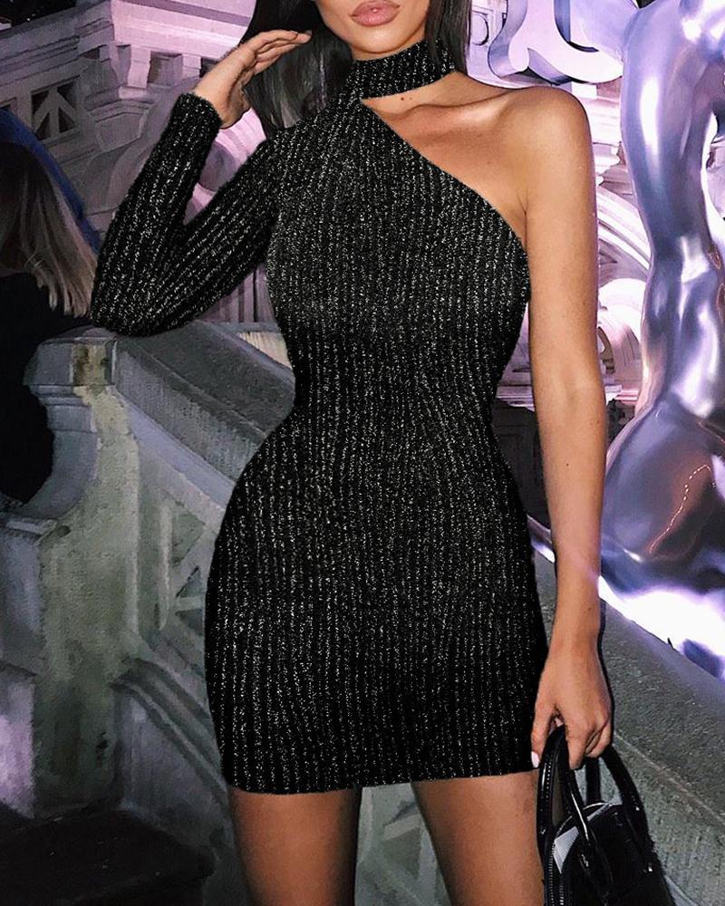 boutiquefeel / Vestido ajustado de un hombro con purpurina