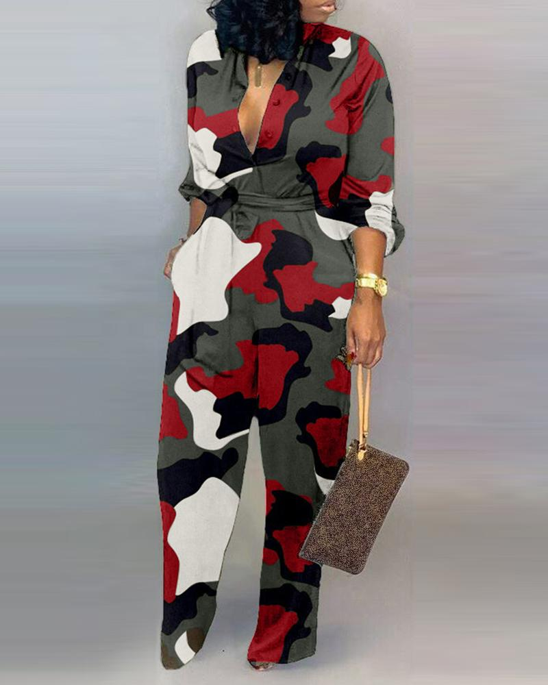 V Neck Camouflage Print Buttoned Jumpsuit фото
