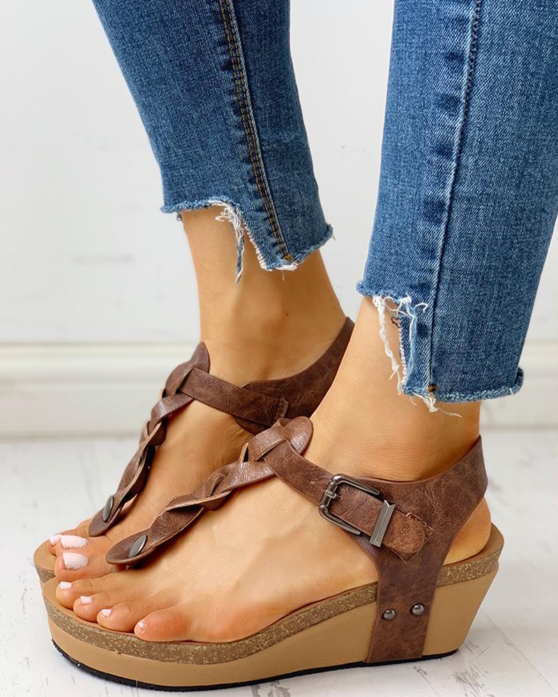 Rivet Design Toe Post Wedge Sandals