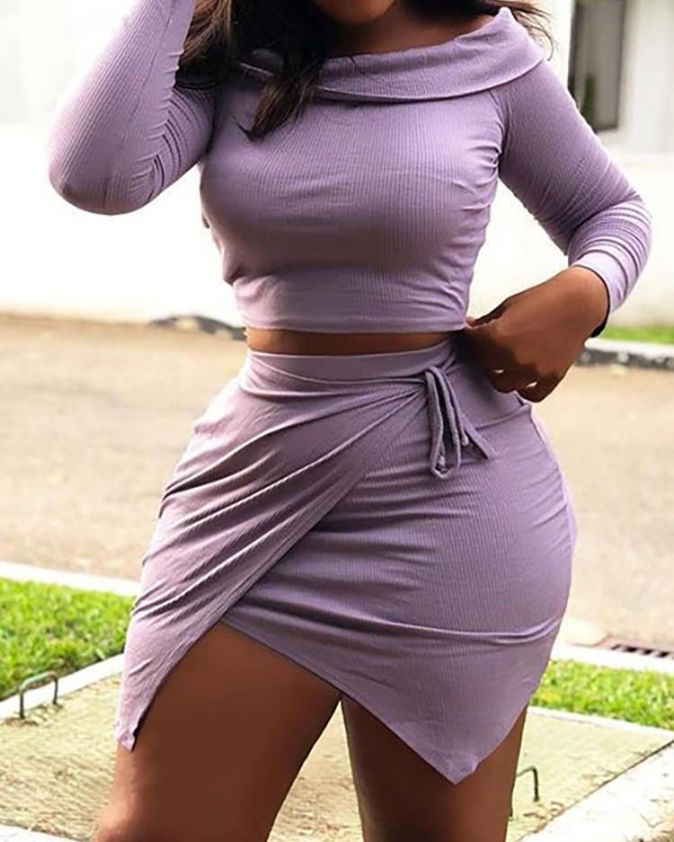 Ribbed Long Sleeve Top & Irregular Skirt Set фото