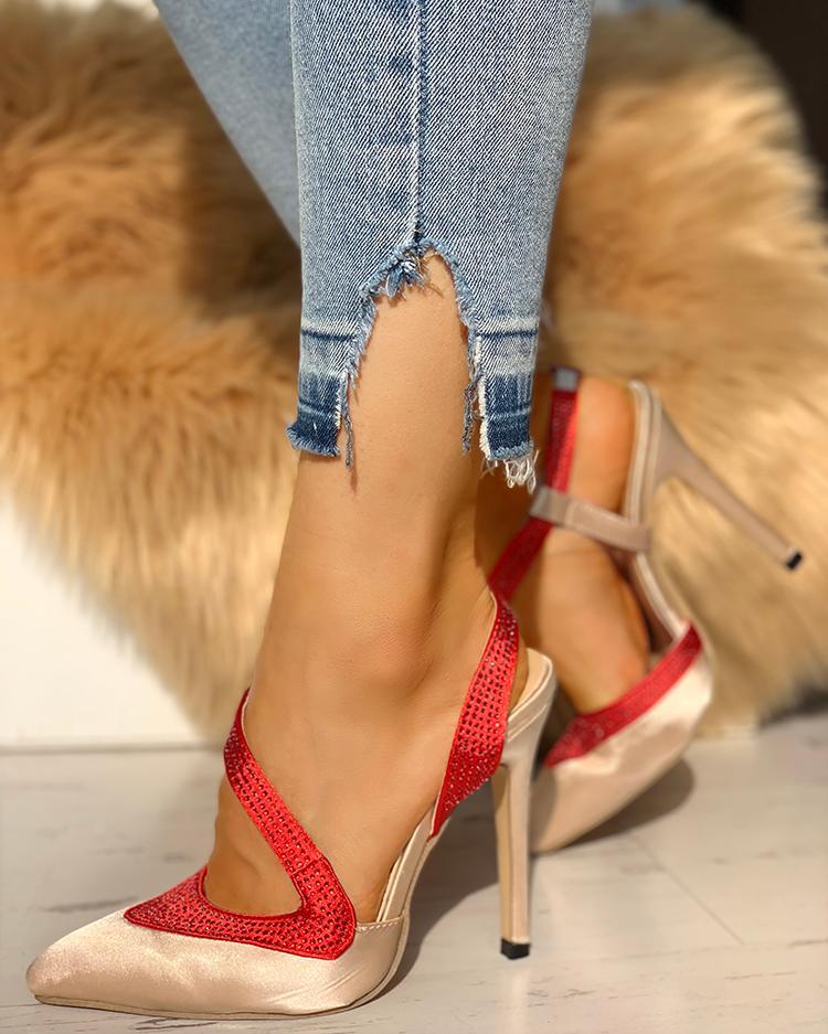 Gem-Studded Splicing Point Toe Thin Heels, Apricot