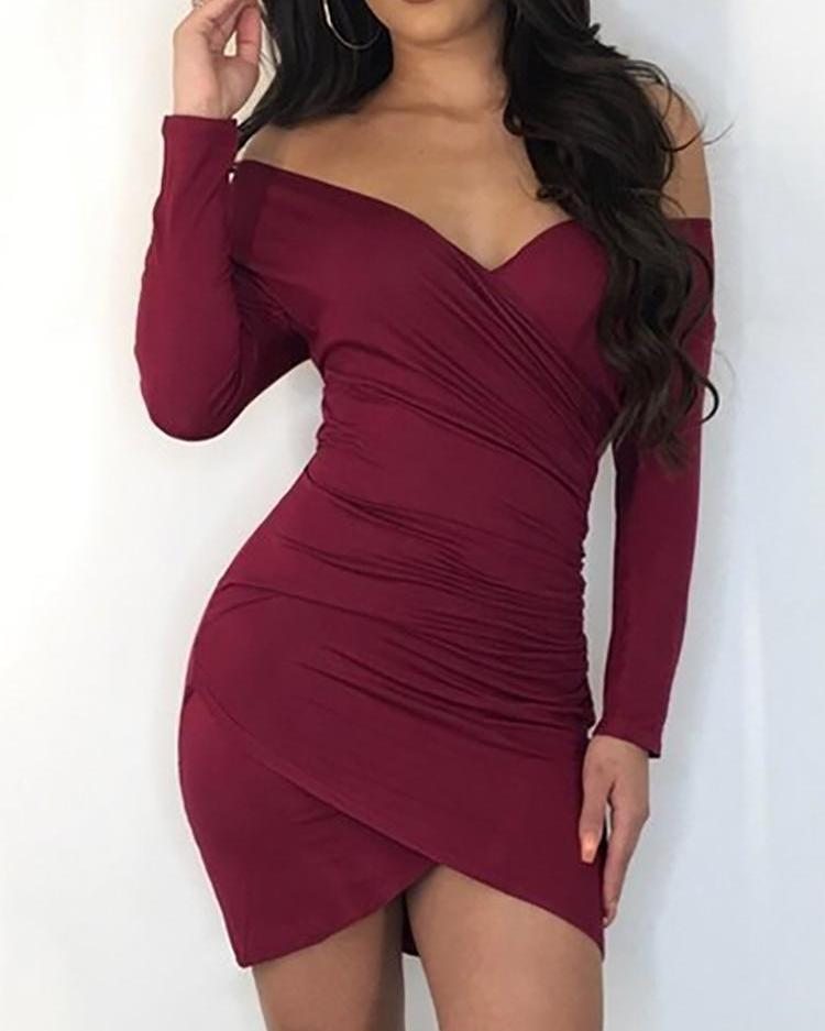 Off Shoulder Scrunched Overlap Bodycon Dress фото