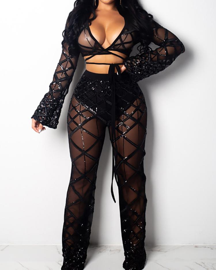 joyshoetique / Shiny Crisscross Sheer Crop Top & Pant Sets