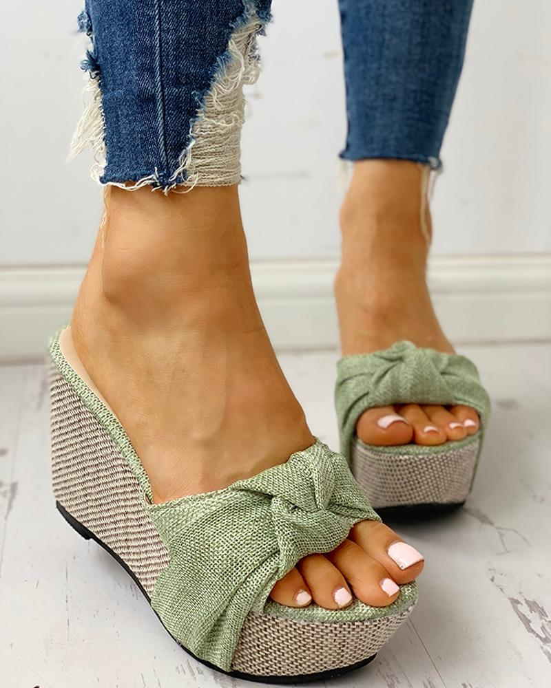 Twisted Knot Design Platform Wedge Sandals фото