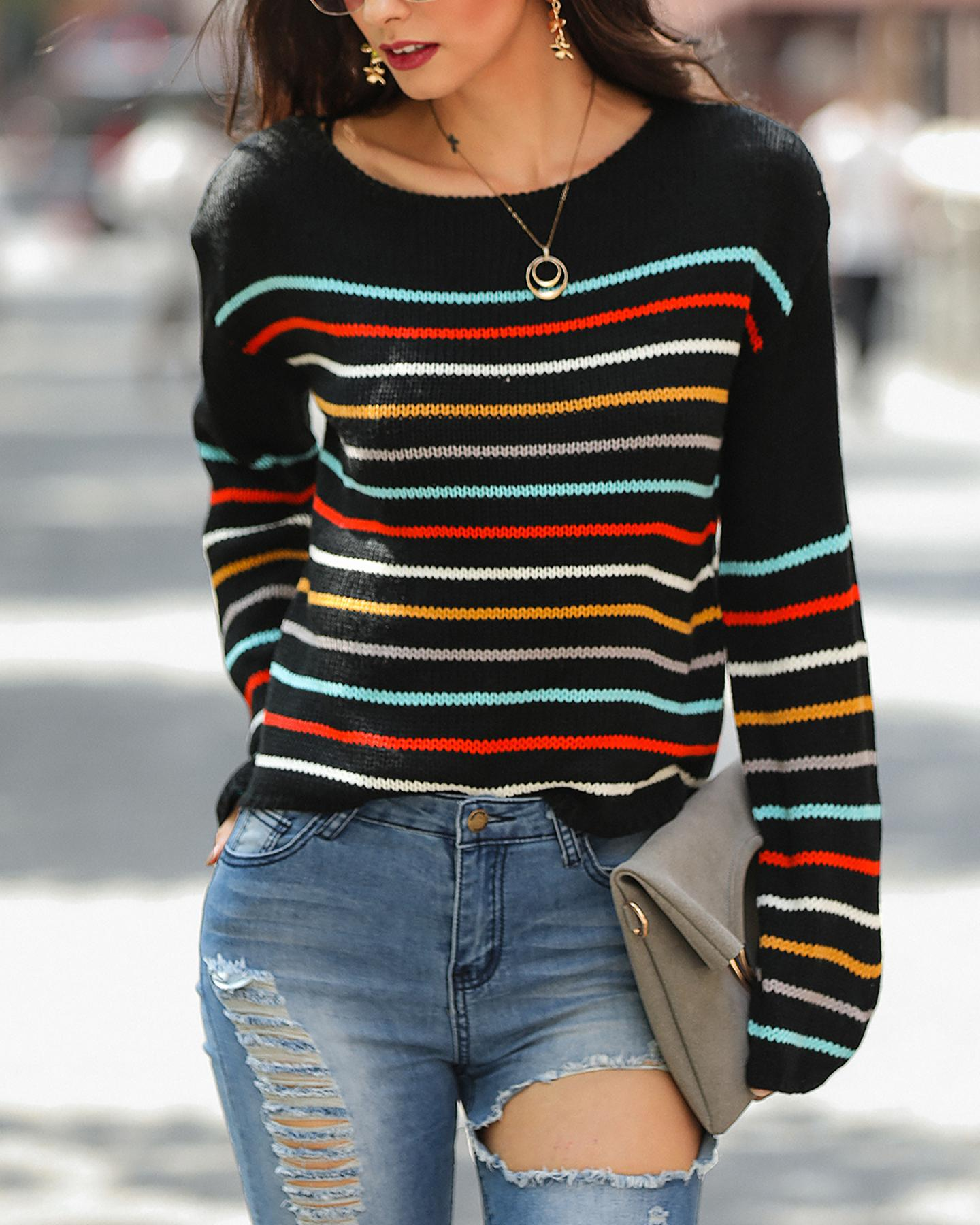 Color Striped Knit Sweater фото